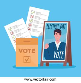 Vote elections day president banner box and papers vector design