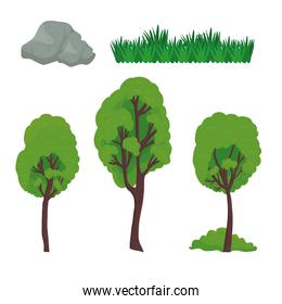 trees grass and stones vector design