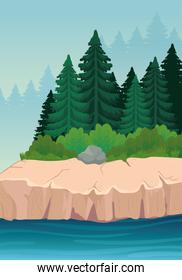landscape of pine trees and river vector design