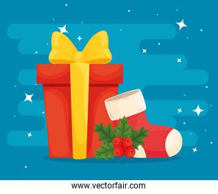 merry christmas gift with boot vector design