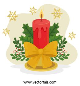 merry christmas candle with bowtie vector design