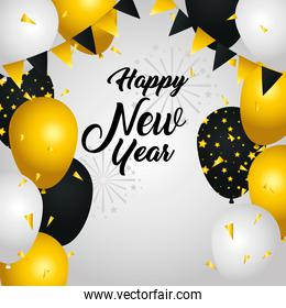 Happy new year balloons with banner pennant vector design