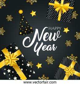 Happy new year gifts and hat vector design
