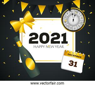 2021 Happy new year with champagne bottle and calendar vector design