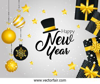 Happy new year spheres and gifts vector design