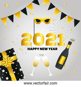 2021 Happy new year with gift and champagne vector design