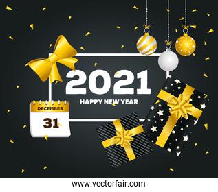 2021 Happy new year spheres and gifts vector design