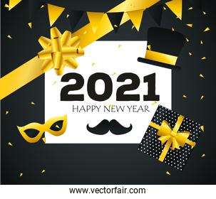2021 Happy new year gift and bow vector design
