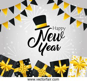 Happy new year gifts banner pennant and hat vector design
