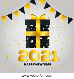 2021 Happy new year gift and banner pennant vector design