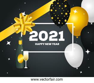 2021 Happy new year balloons bowtie and champagne vector design