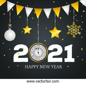 2021 Happy new year with clock vector design