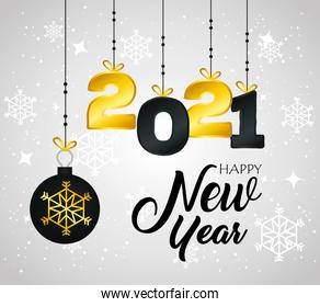 2021 Happy new year with sphere hanging vector design