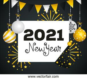 2021 Happy new year spheres and fireworks vector design