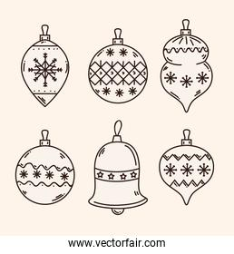 merry christmas spheres and bell vector design
