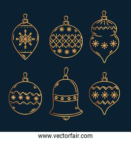 merry christmas gold spheres and bell vector design