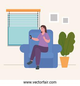 woman on chair with control at home vector design