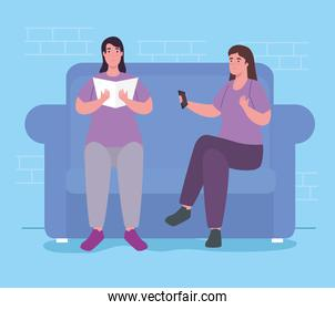 women with book and control on couch at home vector design