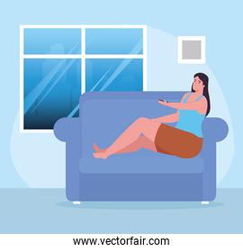 woman on couch with control at home vector design