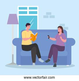 woman and man on couch at home vector design