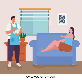 woman and man on couch at cooking at home vector design