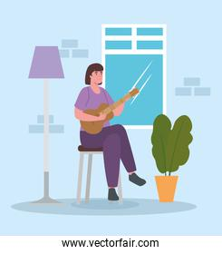 woman playing guitar at home vector design