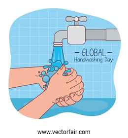 Global handswashing day and hands washing with water tap vector design