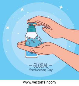 Global handswashing day and hands washing with soap bottle vector design
