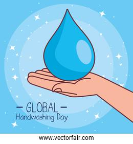 Global handswashing day and drop on hand vector design