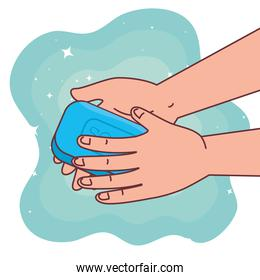 Global handswashing day and hands washing with soap vector design