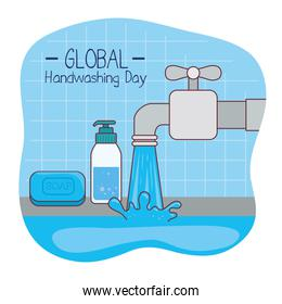 Global handswashing day water tap and soap vector design