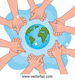 Global handswashing day and hands washing with world vector design