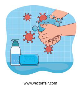 covid 19 virus on hands washing vector design