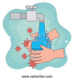 covid 19 virus on hands washing and water tap vector design