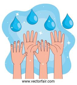 Global handswashing day and hands up with drops vector design