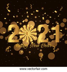2021 Happy new year with gold gift bow and confetti vector design