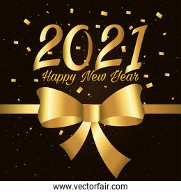 2021 Happy new year with gold bowtie and confetti vector design