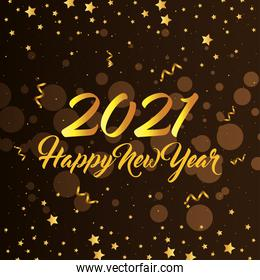 2021 Happy new year with gold confetti and stars vector design