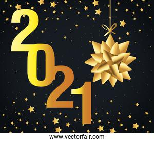 2021 Happy new year with gold gift bow hanging and stars vector design