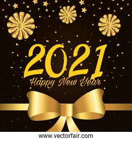 2021 Happy new year with gold gift bows and bowtie vector design