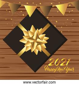 2021 Happy new year with gold banner pennant and gift vector design