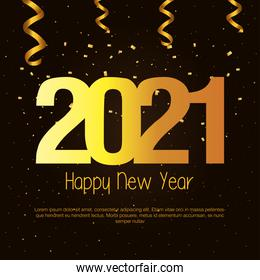 2021 Happy new year with gold confetti vector design