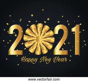 2021 Happy new year with gold gift bow vector design