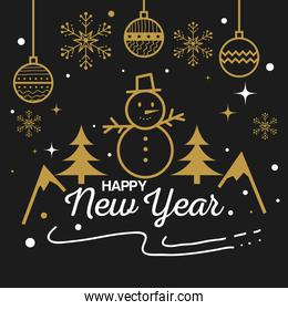 Happy new year with snowman and spheres vector design