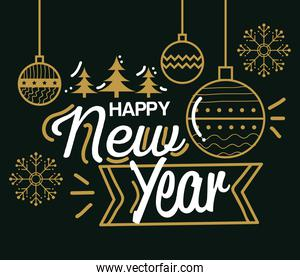 Happy new year with spheres vector design