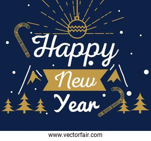 Happy new year 2021 with pine trees and sphere vector design