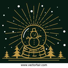 Happy new year 2021 with snowman in sphere vector design