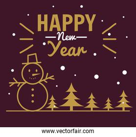 Happy new year 2021 with snowman and pine trees vector design