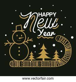 Happy new year 2021 with snowman candy and pine trees vector design