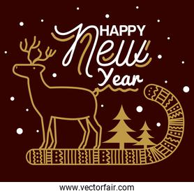 Happy new year 2021 with reindeer on candy vector design